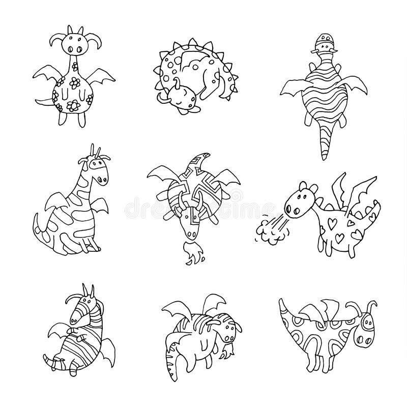 Illustration réglée de vecteur d'icône de dragon du feu de bande dessinée illustration stock