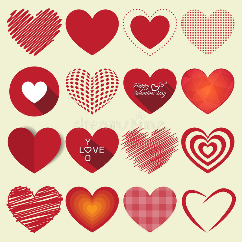 Illustration réglée de vecteur d'icône de valentine de coeur illustration libre de droits