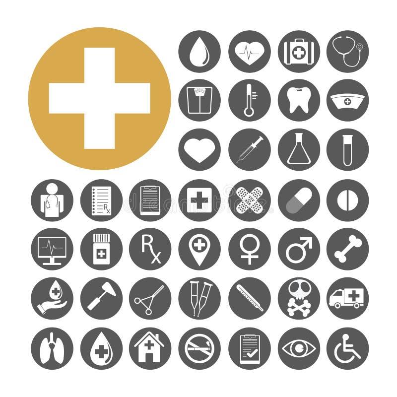 Illustration réglée de vecteur d'icône médicale illustration stock