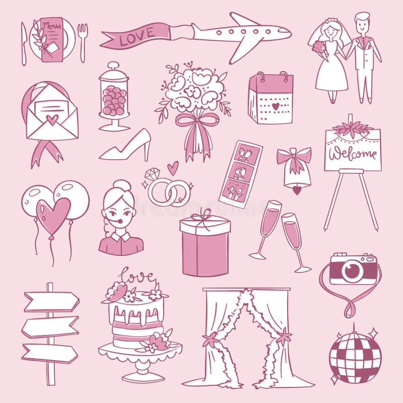 Illustration réglée de vecteur de célébration d'icônes d'agence d'ensemble de jour de cérémonie de réception de mariage illustration de vecteur