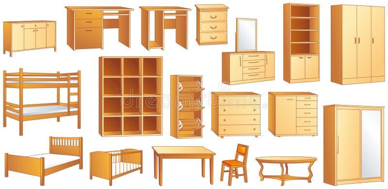 Illustration réglée de vecteur de meubles en bois illustration stock