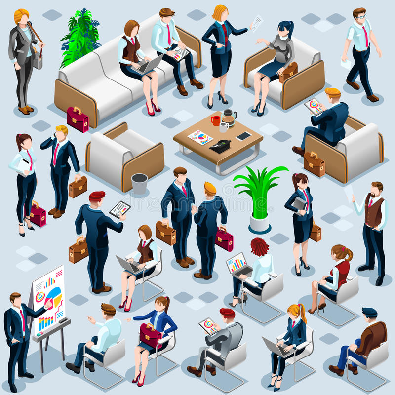 Illustration réglée de vecteur de personnes d'affaires d'icône isométrique du personnel 3D illustration libre de droits