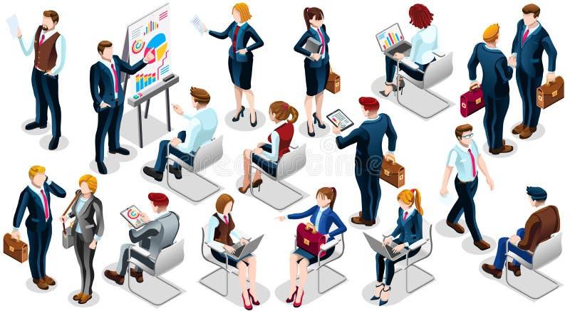 Illustration réglée de vecteur de personnes d'icône isométrique de la femme d'affaires 3D illustration libre de droits