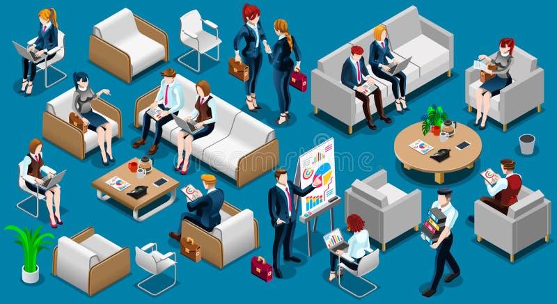 Illustration réglée de vecteur de personnes d'icône isométrique de Team Work 3D illustration stock