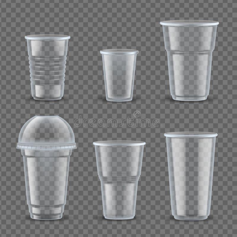 Illustration réglée de vecteur de plastique de maquette réaliste de tasses illustration de vecteur