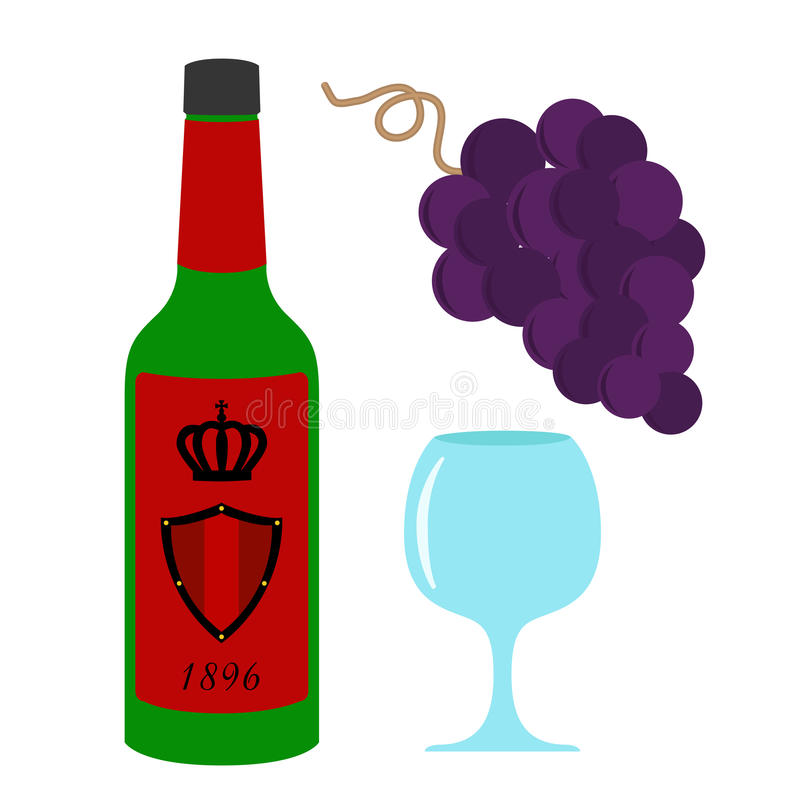 Illustration réglée de vin illustration stock