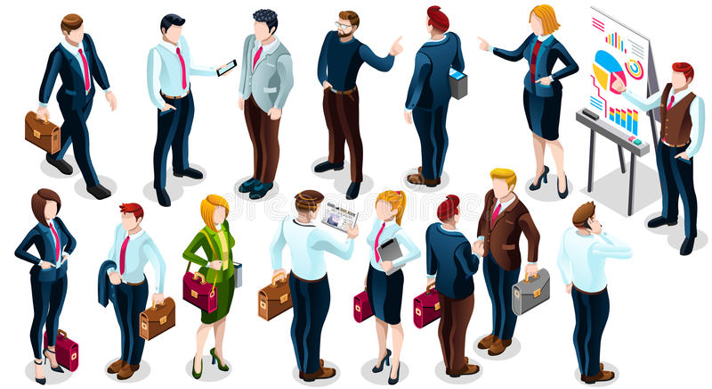 Illustration réglée isométrique de vecteur de l'icône 3D d'affaire d'affaires de personnes illustration stock