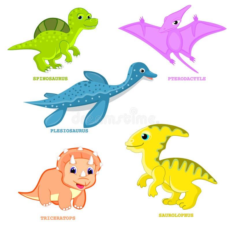 Illustration réglée Plesiosaur, ptérodactyle, triceratops, spinosaurus, amusement de vecteur de dinosaure de bébé de bande dessin illustration stock