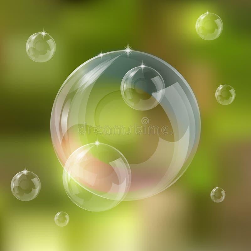 Illustration réglée réaliste de vecteur de bulles de savon illustration libre de droits