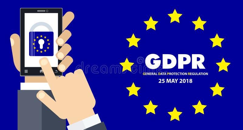 Illustration réglementaire de concept de la protection des données générale GDPR - 25 mai 2018 illustration stock
