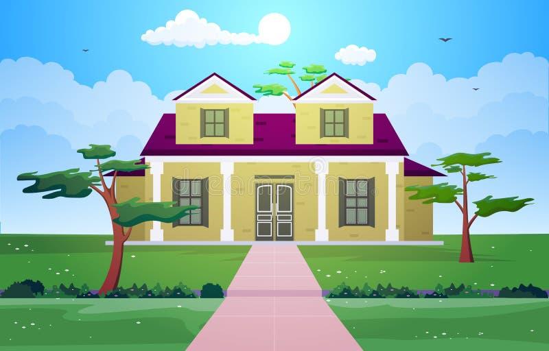 Illustration résidentielle de beau de Chambre yard extérieur moderne de façade illustration stock