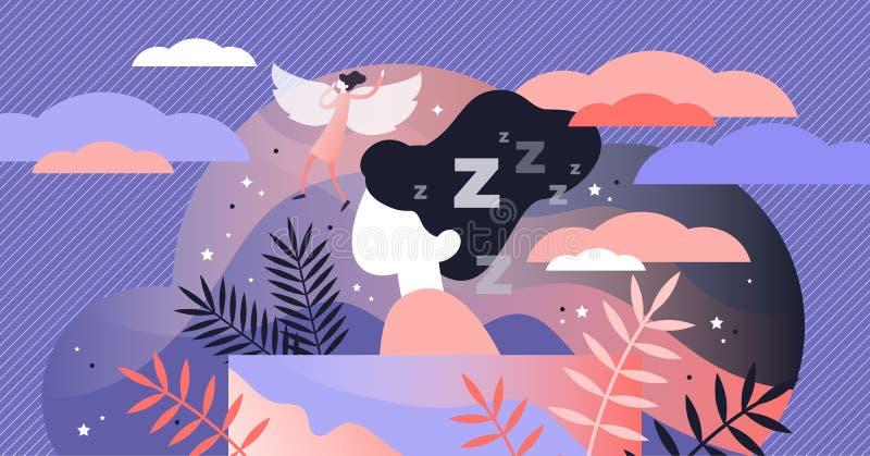 Illustration rêvante lucide de vecteur Concept minuscule plat de personnes de référence de sommeil illustration de vecteur