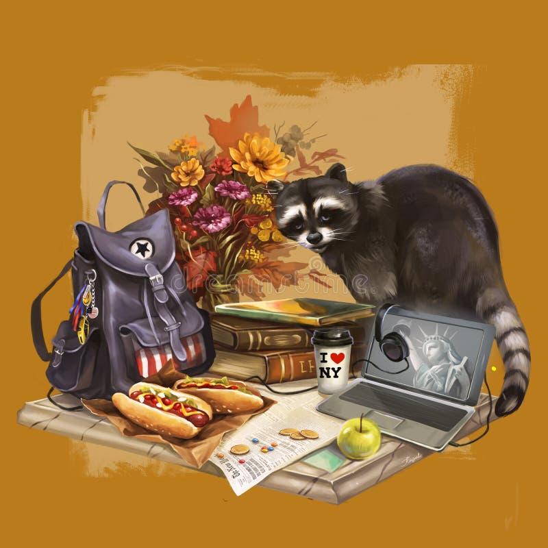 Illustration of raccoon going camping stock illustration