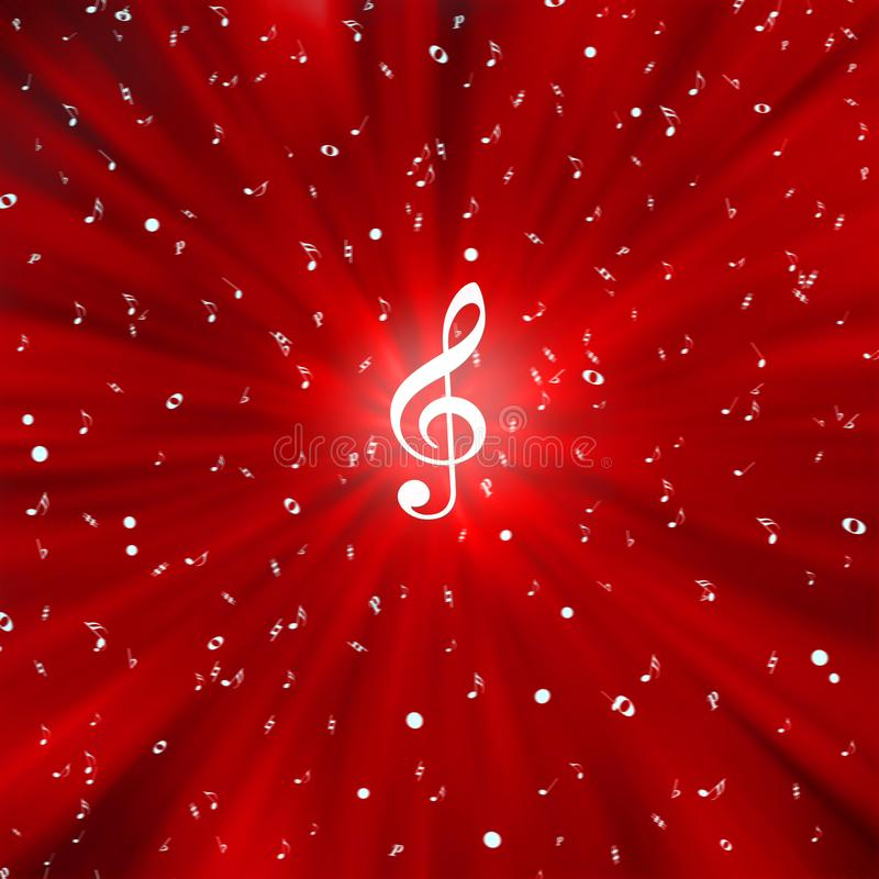 Radial White Music Notes in Red Background. Illustration of radial white music notes with a treble clef in center in blurred red background vector illustration