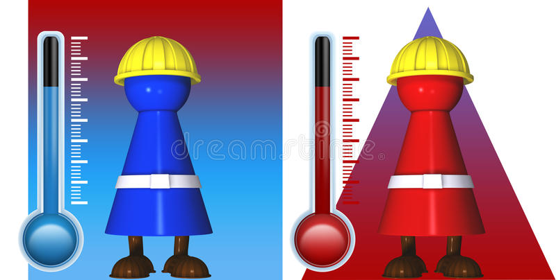 Illustration of radiant heat. Worker icons in cold and warmth with radiant heat and thermostats stock illustration