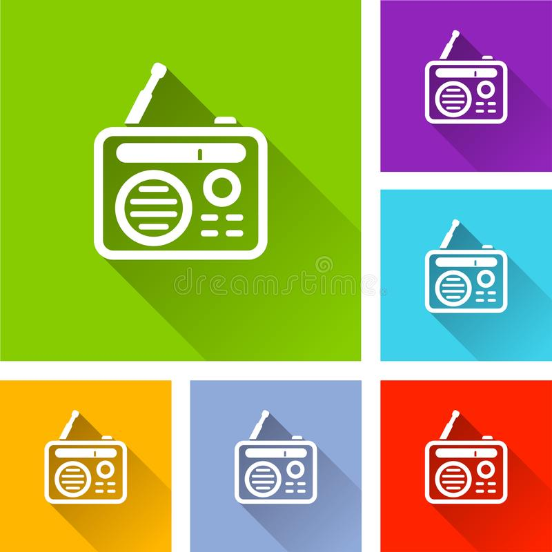 Radio icons with long shadow vector illustration