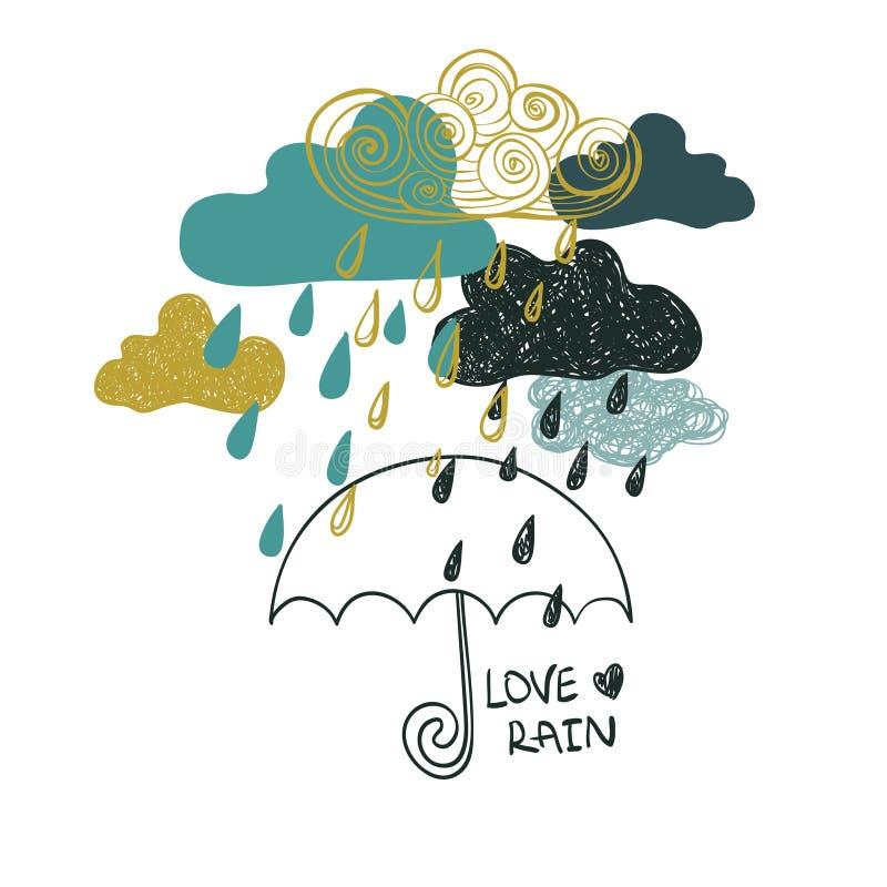 Illustration Of Rain Clouds And Umbrella. stock illustration