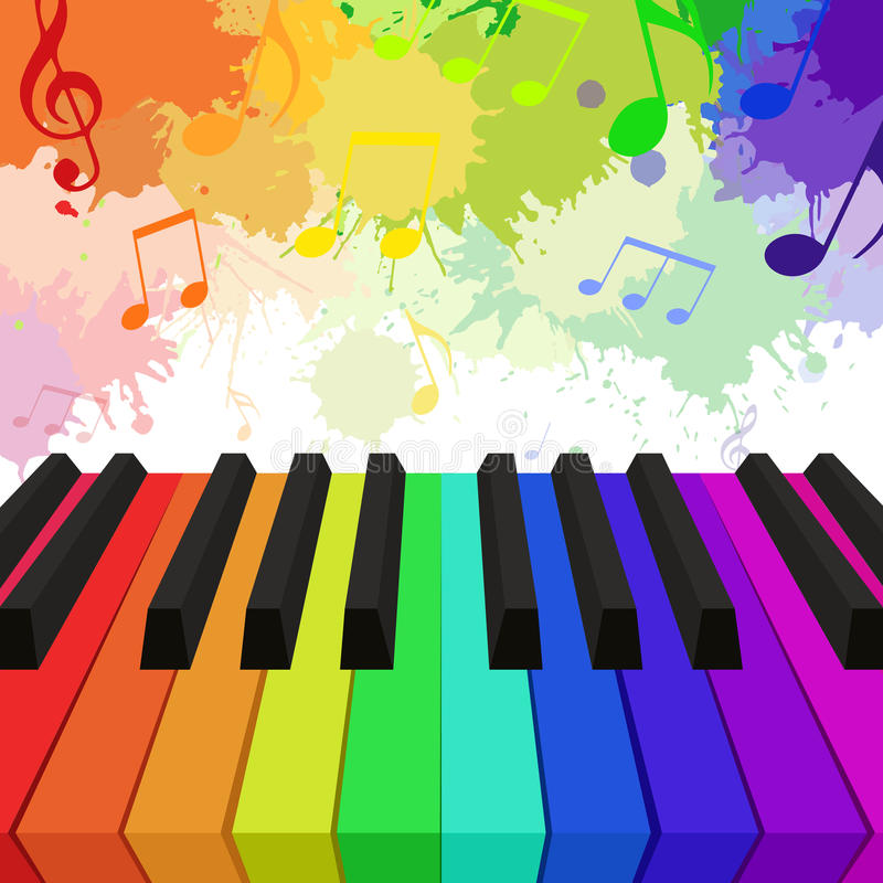 Illustration of rainbow colored piano keys. Musical notes and watercolor splashes. Vector element for your design royalty free illustration