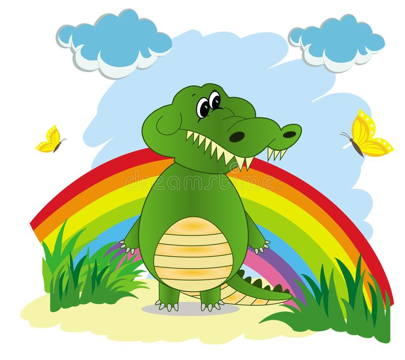 Illustration of a rainbow in the sky with a green cartoon crocodile stock illustration