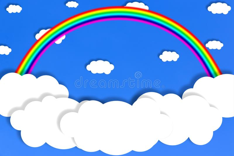 Abstract White Clouds and Rainbow in Blue Sky Background vector illustration
