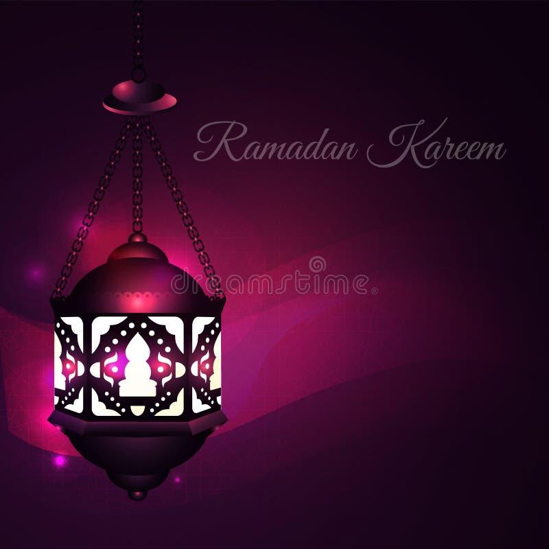 Illustration Ramadan Kareem Background with Lamps (Fanoos), Ramadan Kareem Crescents and Lights. Can be used as Ramadan stock illustration