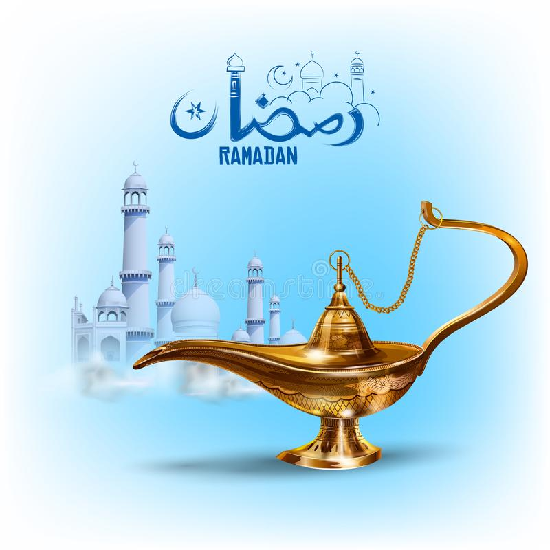 Ramadan Kareem Generous Ramadan greetings in Arabic freehand with antique Aladdin lamp for Islam religious festival Eid. Illustration of Ramadan Kareem Generous stock illustration