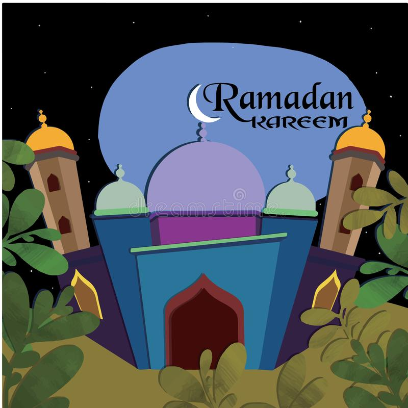 Illustration of Ramadan kareem and Ramadan mubarak. beautiful islamic and arabic hanging lantern and calligraphy wishes holy month vector illustration