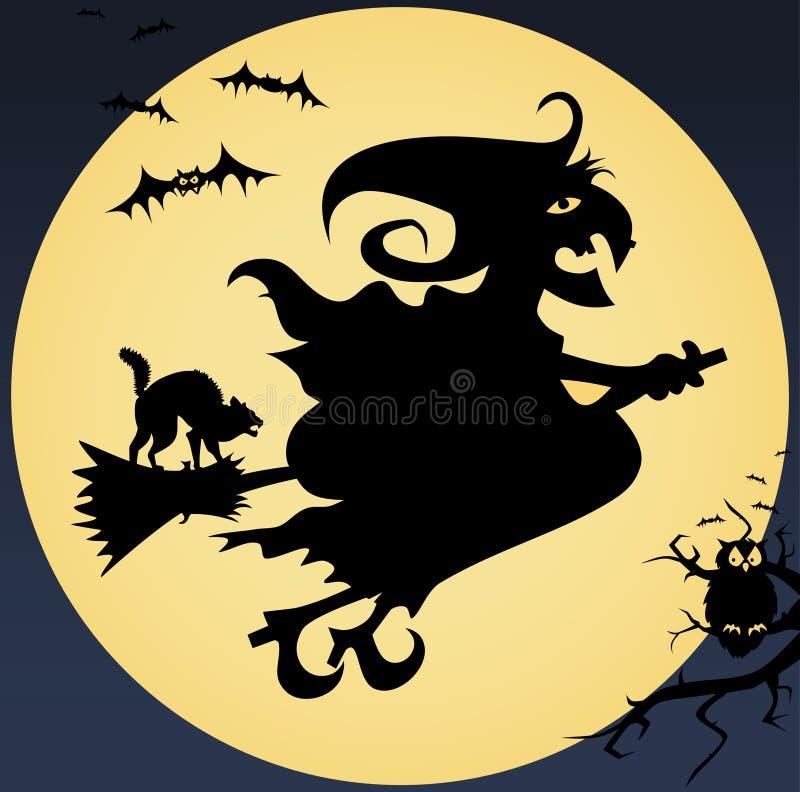 Illustration rampante avec la sorcière, chat, hibou, lune et illustration stock