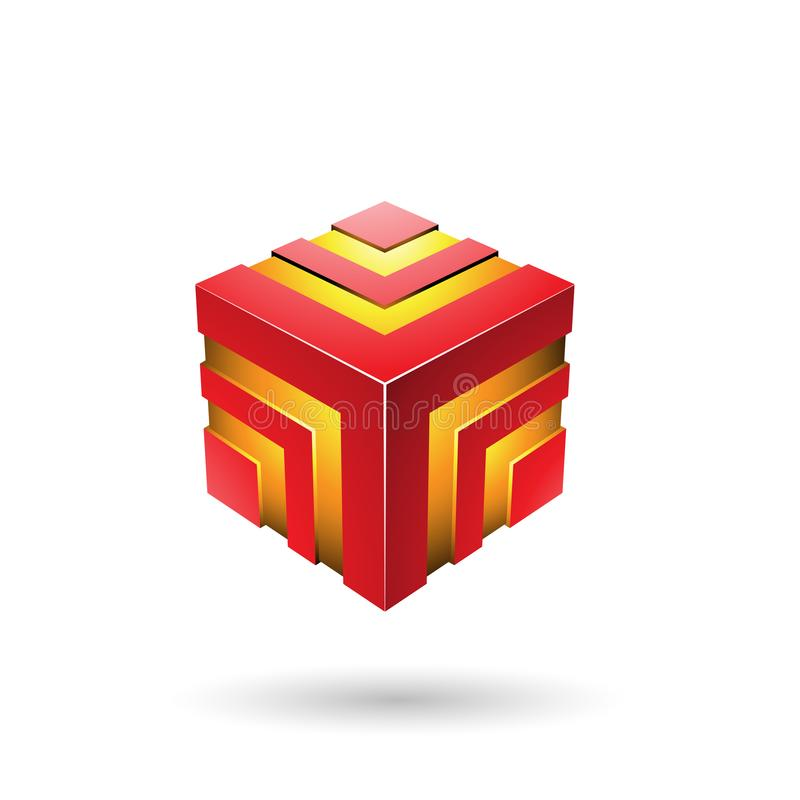 Illustration rayée audacieuse rouge de vecteur de cube photographie stock
