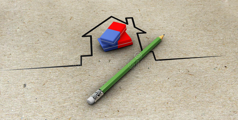 Illustration of Real estate agent with pencil stock illustration