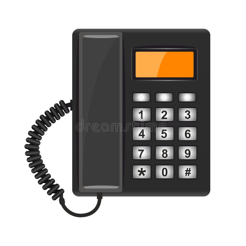 Illustration realistic black telephone on white background vector illustration