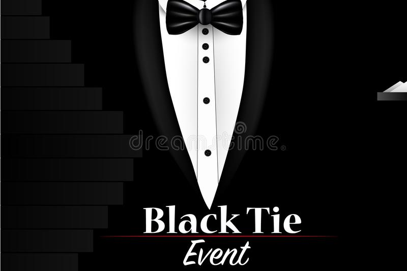 illustration of realistic vector black suit black tie event invitation template stock vector. Black Bedroom Furniture Sets. Home Design Ideas
