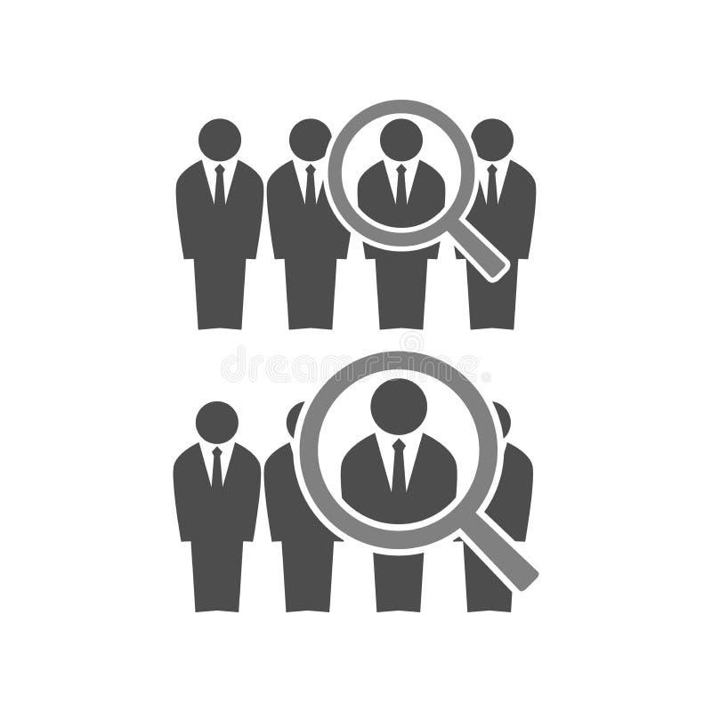 Illustration recruteuse de concept des employés hommes d'affaires dans les costumes dans la ligne et une loupe Ressources humaine illustration libre de droits
