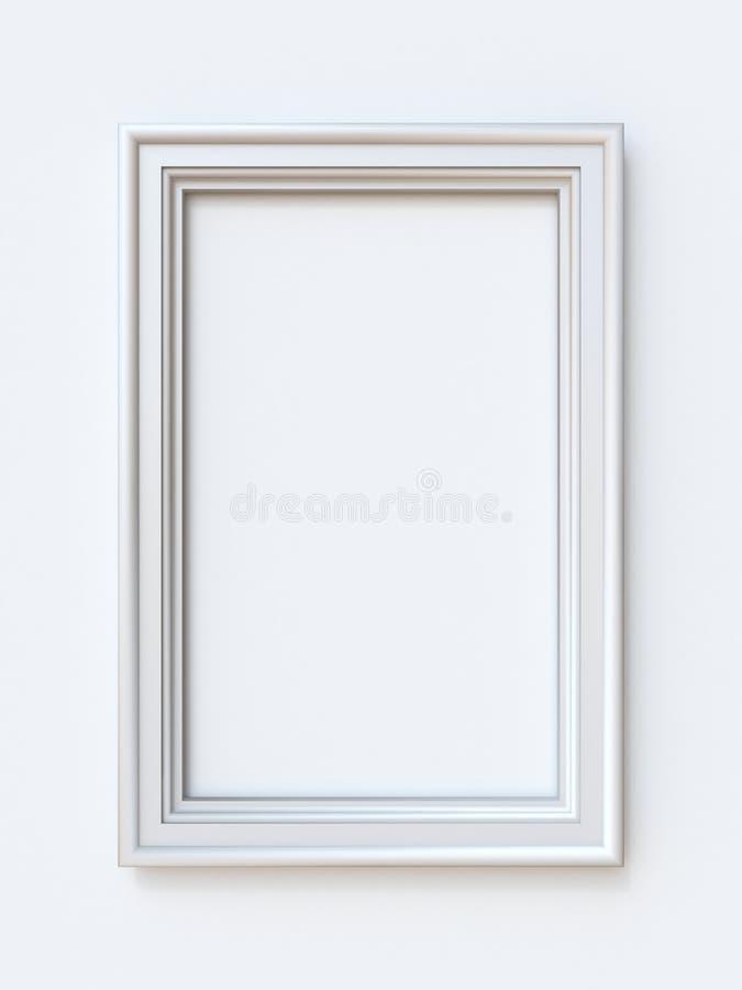 Illustration rectangulaire blanche du rendu 3D de cadre de tableau illustration stock