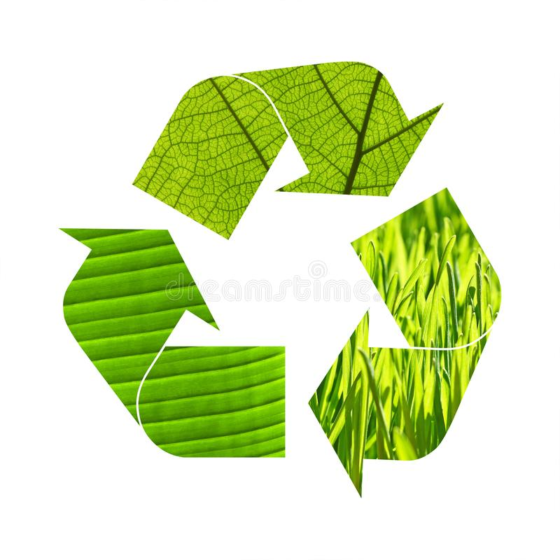 Illustration recycling symbol of green foliage royalty free stock images