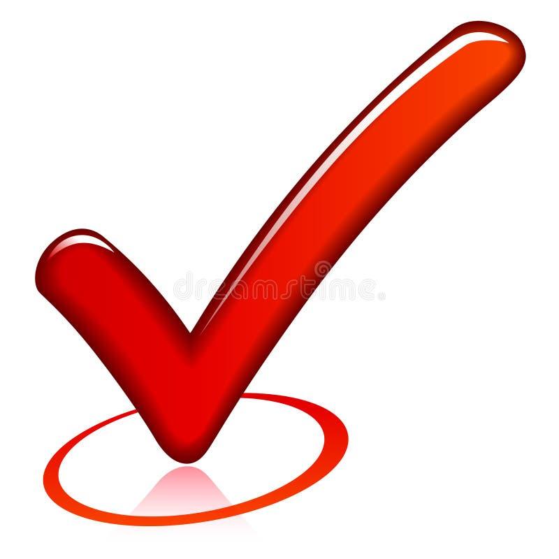 Red check mark. Illustration of red check mark on white background stock illustration