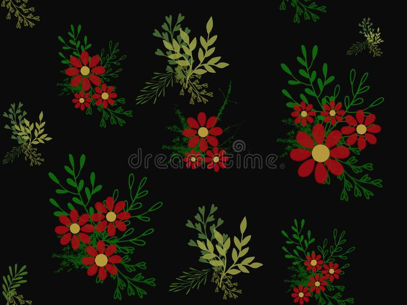 Illustration, red flowers with yellow cores, green twigs and leaves on a black background, flower bushes, pattern. Floral print stock illustration