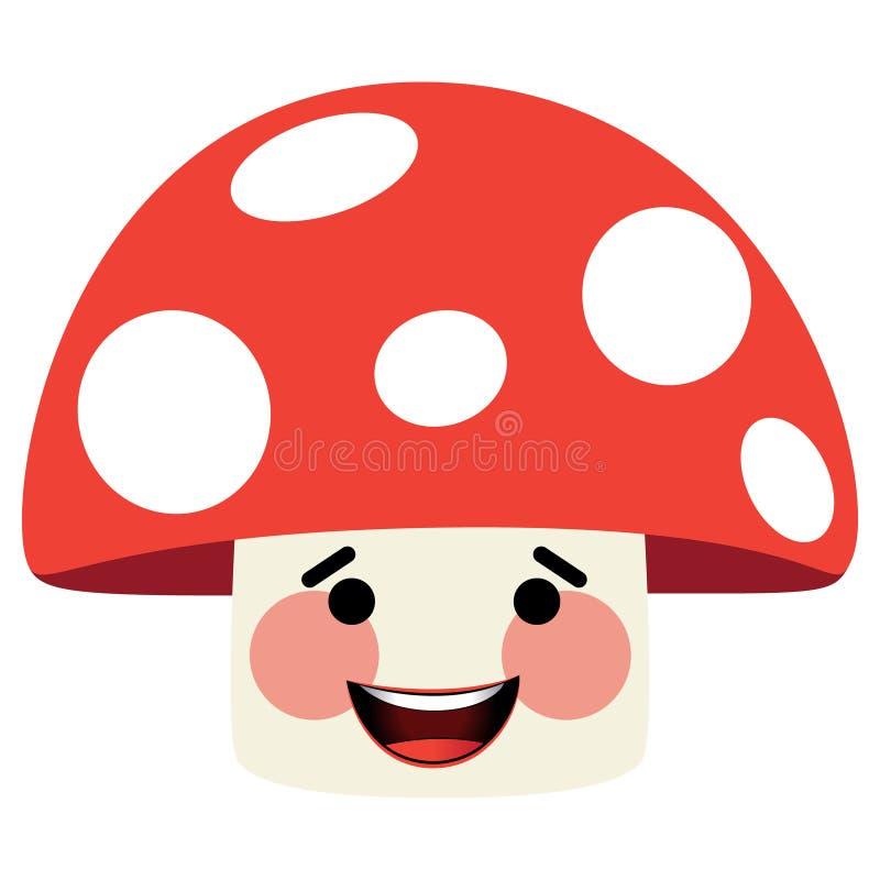 Illustration of red mushroom face.  vector illustration