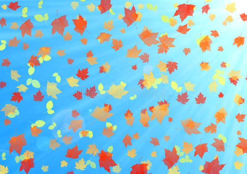 Abstract Autumn Background with Colorful Leaves Falling in Sunlight and Blue Sky royalty free stock image