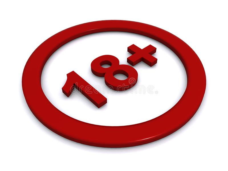 18+ sign. Illustration of red 18+ sign isolated on white background stock illustration