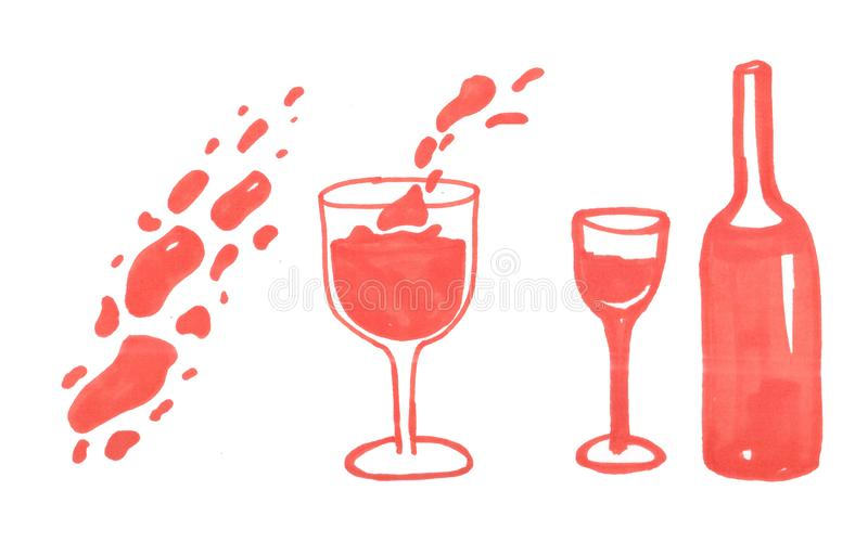 Illustration of red wine bottle and glass royalty free illustration