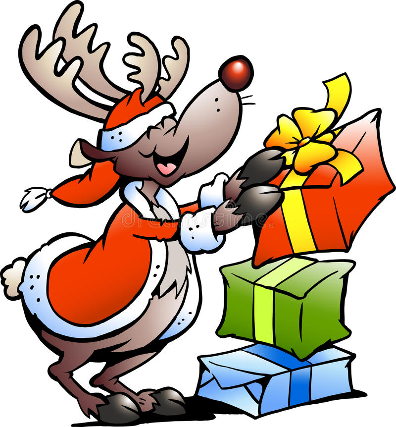 Download Illustration Of An Reindeer With Christmas Gifts Stock Vector - Image: 22079972