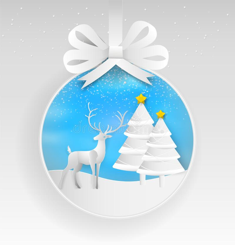Illustration of reindeer and christmas tree in winter with lands. Cape background. Paper art style of Merry Christmas and Happy New Year vector illustration