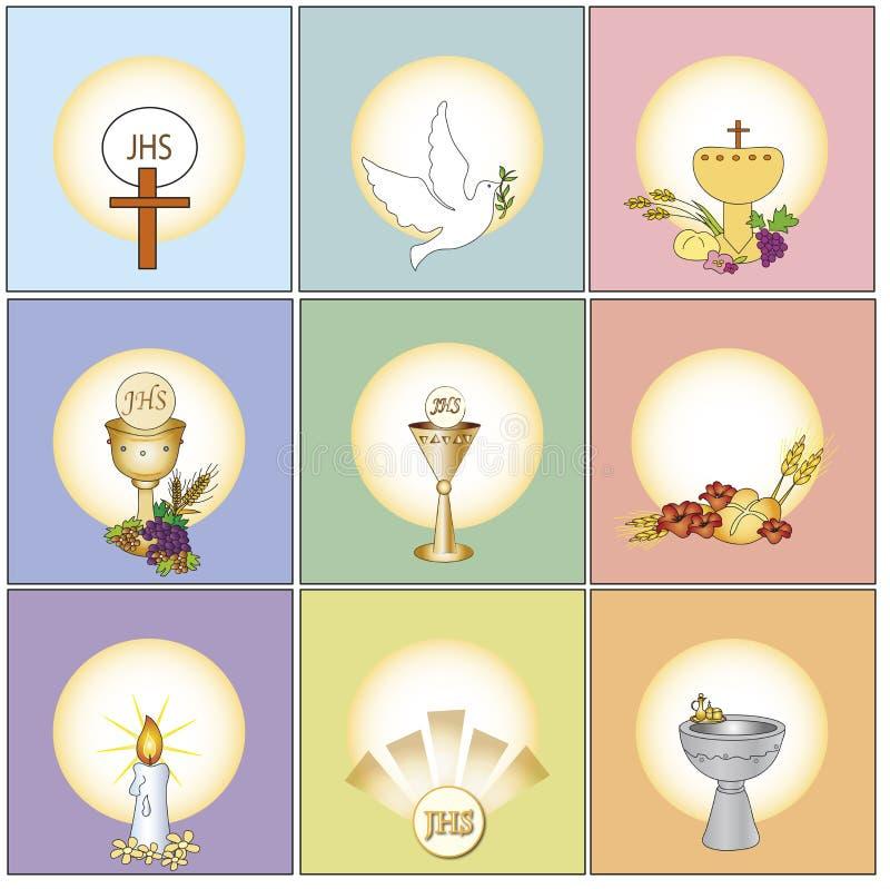 Religion icons. Illustration of religion icons isolated royalty free illustration