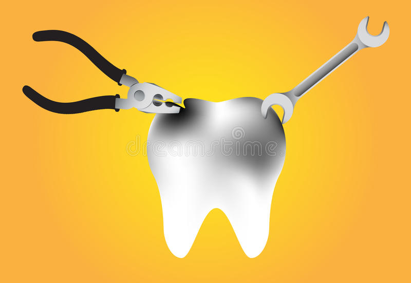 Illustration of repair a tooth decay on yellow background royalty free illustration