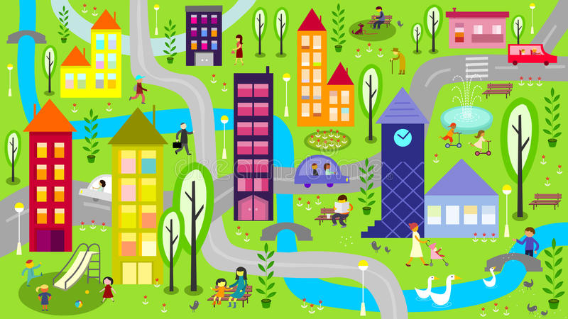 Colorful city with river and roads vector illustration