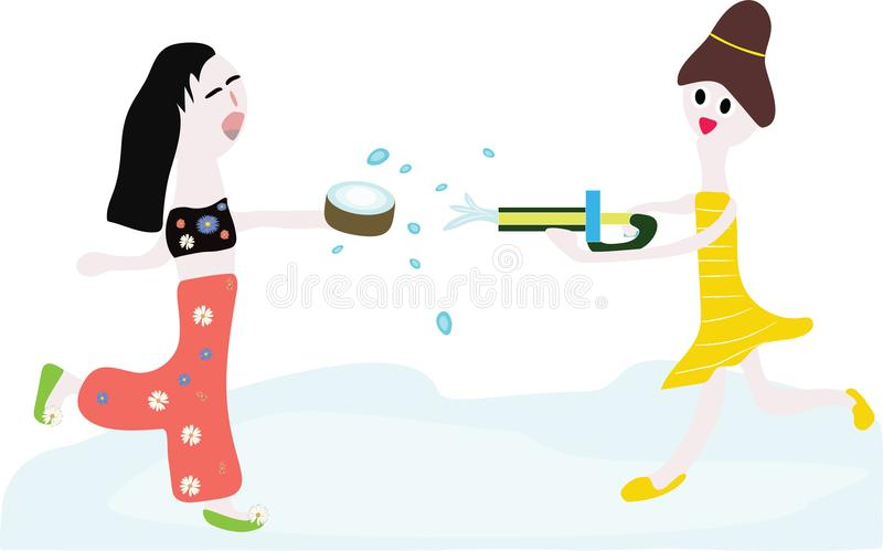 Two women splashing water to each other royalty free illustration