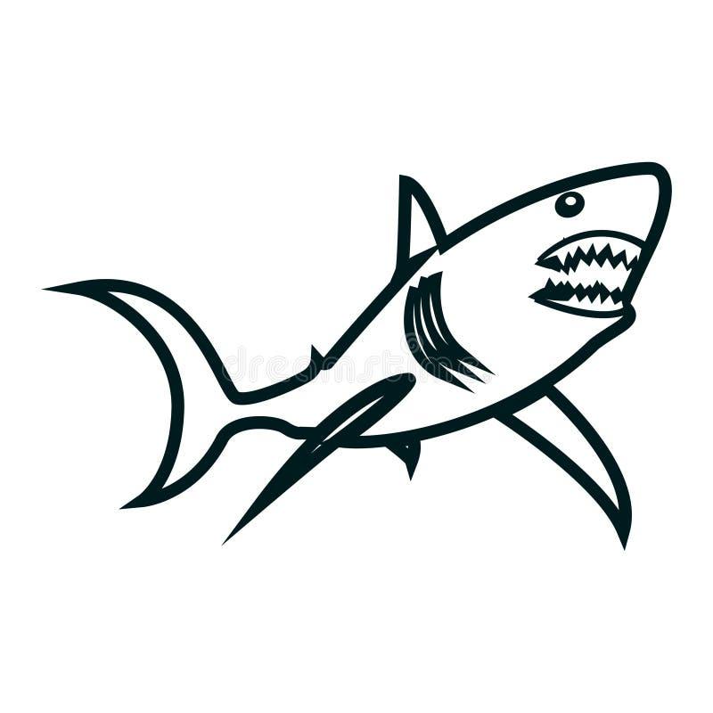 Illustration requin de vecteur de schéma Conception simple d'ensemble de requin illustration de vecteur
