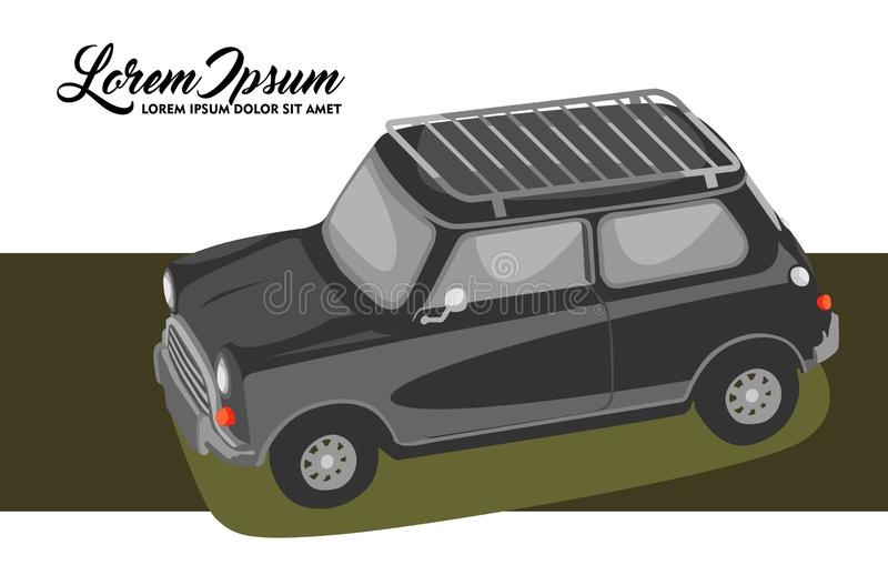 Illustration of Retro Couple Safari Car royalty free illustration