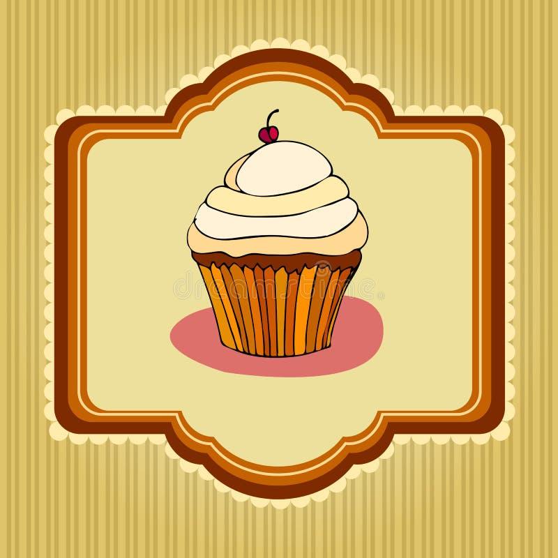 Illustration of retro cupcake card vector illustration